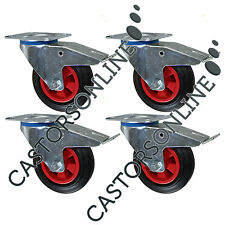 "Heavy Duty Industrial Rubber Swivel Braked Castor Wheels, 4-Pack (200MM/8"")"
