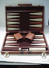 Vintage Backgammon Game Set Brown Padded Case