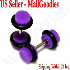 2031 Purple Violet Fake Cheater Illusion Faux Ear Plugs 16G Bar 4G = 5mm - 2pcs
