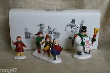 Dept 56 Snow Village Christmas Snowman HE LED THEM DOWN STREETS TOWN (3) Figures