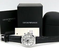 Emporio Armani AR2432 Mens Classic Chronograph Watch on Black Leather Strap SALE