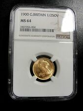 1900 GREAT BRITAIN GOLD 1/2 SOVEREIGN NGC MINT STATE MS64 RARE THIS GRADE!