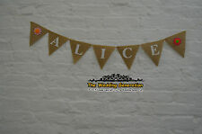 Nursery Decor Custom Personalized Name Banner Felt Flowers Burlap Garland Party