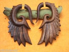 Tibetan Brown Wooden Handmade Tribal Wings Design Fake Guage Wood Earring WER001