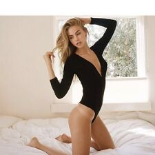 Sold Out! Brandy Melville Black V Neck Ribbed Knit Bodysuit Top NWOT