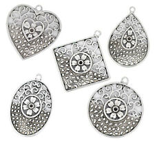 5 x Tibetan Silver Mixed Style Filigree Pendant Jewellery Necklace Git Q183
