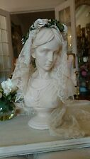 Shabby vtg style lady goddess statue net lace and millnery veil