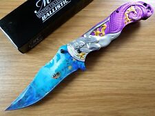 Master Collection Spring Assisted Folding Knife Mermaid Purple Tail MC-A013PE