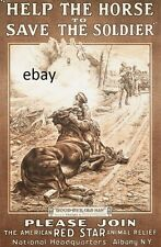 WW1 POSTER PRINT AMERICAN RED STAR WOUNDED WAR HORSES ALBANY NY NEW A4 PRINT