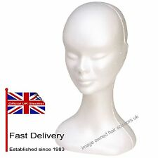 Polystyrene Head FEMALE Poly Mannequin Ladies Wig Holder White Good Quality