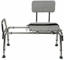 DMI Heavy-Duty Sliding Transfer Bench Shower Bath Chair Seat Adjustable Legs Med