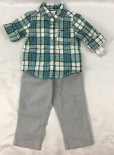 Carter's Boy's 2-Piece Set Cotton Green Plaid Button Down Shirt Gray Pants 18M