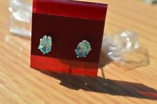 1.10ct Paraiba Blue Apatite Solitaire Earrings 6 Prong Sterling Silver VVS
