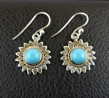 Turquoise in Sterling Silver 925 Drop Dangle Earrings Handcrafted from India 002