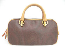 Auth ETRO Hand Bag Paisley Leather Brown Purse Free Shipping 18130170900 V142