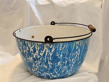 """14"""" dia. Large Blue & White Old Graniteware Bowl with Handle and Wood Grip"""