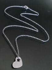 """Stainless Steel Heart w/ Star Cutout Necklace Tiny Charms on 16"""" Chain"""