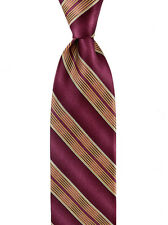 "New Men's BRIONI Maroon Red Gold Striped Silk 3.25"" Classic Neck Tie Necktie"