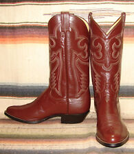 Mens Vintage Sanders Brown Leather Handcrafted Cowboy Boots 9 D NEW In Box NIB
