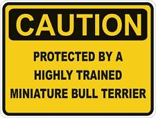Dog Breed Miniature Bull Terrier Caution Sticker Pet for Bumper Car Door Locker