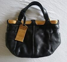~ JIMMY CHOO BLACK LEATHER SMALL TOTE BAG W/ ROSE GOLD HARDWARE  (OMG!)~