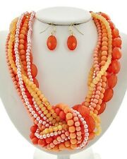 Multi Strand Multi Coral Orange Lucite Bead Big knot Chunky Necklace Earring