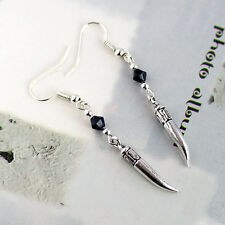 Antique Silver Vintage Teeth Tooth Fang Dangle Earrings