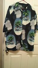 Box Office Island Mens Palm Tree Print Short Sleeve Shirt/ Size L