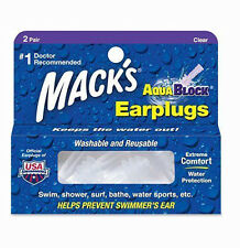 Mack's Swimming Watersports Ear Plugs - MACKS AQUABLOCK Earplugs Clear 2 Pairs