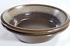 "MIKASA Ultima Plus BROWN Stoneware Two 7"" Cereal Salad Soup BOWLS Free Shipping"