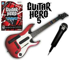 NEW Nintendo Wii Guitar Hero 5 Guitar, GH Van Halen Game & Microphone Bundle