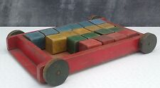 Tri ang Teachem toys Lines bros Ltd Made in England wooden cart & bricks 1950s