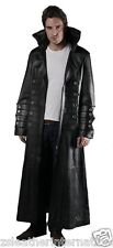 Mens Excellent Cow Leather Steam Punk/Gothic High Neck Van Helsing Stylish Coat