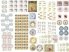 Dollhouse Miniature Shabby Chic Decals 1:12 Kitchen Labels Plates Clocks Pantry