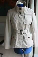 H & M  size 10 Beige hip length Jacket Trench Coat style with Belt Exc Condition