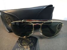 VTG B&L RAY BAN W1079 GOLD-TORT 1992 OLYMPIC GAMES AVIATOR SUNGLASSES W/CASE 513