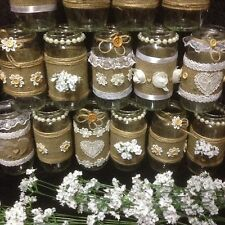 joblot bulk 11  recycled jars shabby chic table centre sweet table Weddings last