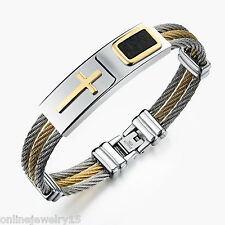 1PC Fashion Men's Stainless Steel Cross Finished Chain Bracelet Jewelry F0