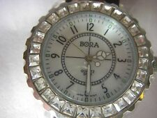 Bora unisex gorgeous rhinestone bling fancy watch opalesce face new battery