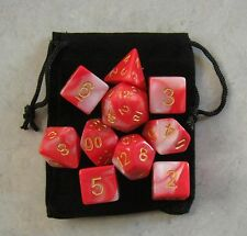 Vampire Blood Red RPG D&D Dice Set: 7 + 3d6 = 10 polyhedral die plus bag!