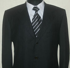 SARTORIA PARTENOPEA NAPOLI GREY STRIPED SUPER 100'S FLANNEL SUIT,46R W40 L30