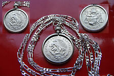 PROUD MEXICAN SILVER Eagle & Snake Bezel Pendant on a 925 Sterling Silver Chain
