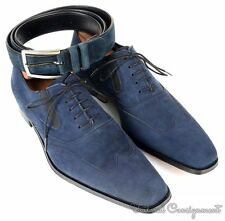 NIB - MEZLAN Hoffman Vibrant Blue Solid Suede Wingtip Dress Shoes BELT - 10.5 M