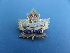 WW1 C.E.F. 2nd Canadian Mounted Rifles HM Silver Sweetheart Brooch Badge Pin