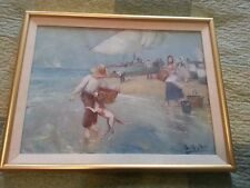 Original Juan Soler Oil Painting Spanish Seaside Coastal Boy and Dog
