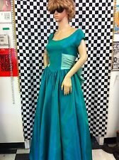 Vintage 1950's Emerald Green Satin Acetate Tulle Evening Ball Gown Size Small