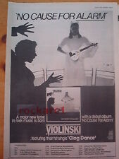 VIOLINSKI No Cause For Alarm 1979 UK Poster size Press ADVERT 16x12""