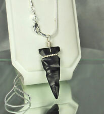"New STERLING Silver Carved JET ARROWHEAD Necklace~NAVAJO J. HOWE~20"" 925 Chain"