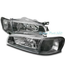95-01 SUBARU IMPREZA CRYSTAL HEADLIGHT W/CORNER SIGNAL LAMP BLACK 96 97 98 99 00
