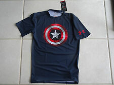 NEW MEN'S UNDER ARMOUR HEATGEAR ALTER EGO CAPTAIN AMERICA COMPRESSION T-SHIRT XL